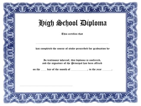 free high school diploma template with seal blank high school diploma template free printables