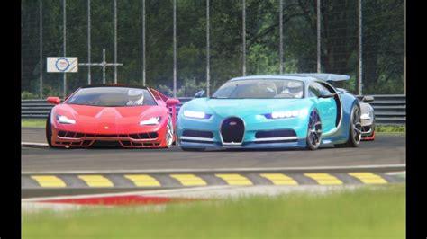 Battle Bugatti Chiron X Lamborghini Centenario Racing At