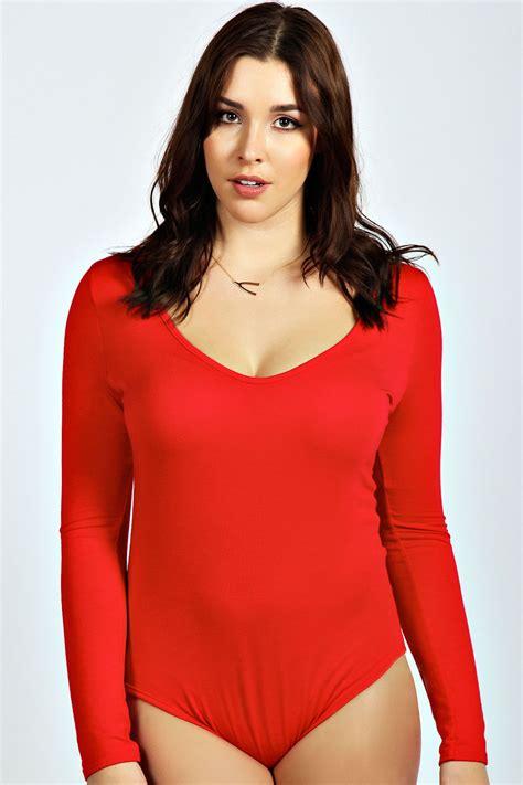 Boohoo Womens Ladies Olivia Long Sleeve V Neck Plus Size