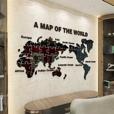 arrival world map puzzle acrylic  wall stickers