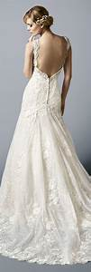 LOW BACK LACE MERMAID WEDDING GOWN WITH CAP SLEEVES ...