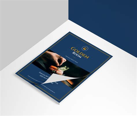 dark blue gold fancy restaurant flyer idea venngage