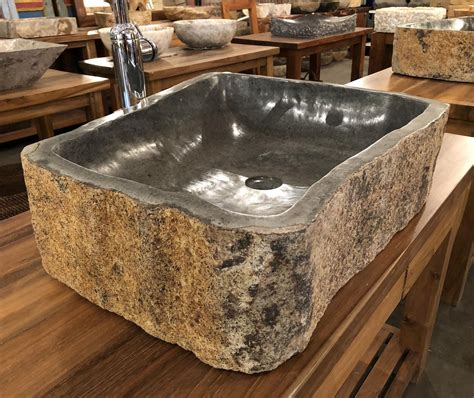 andesite natural stone vessel sink extra large