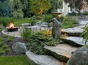 Natural backyard rustic backyard landscaping fire pits for Natural landscape design