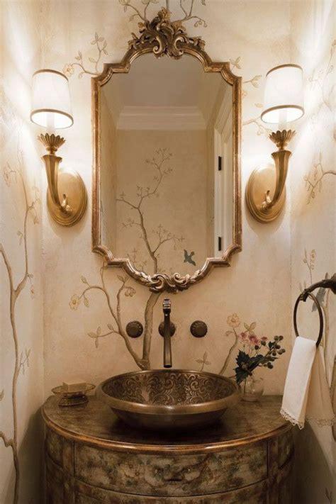 Beautiful Powder Room Design Featuring Brass Sconces