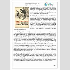 The Second World War Evacuees English Worksheet For Key Stage 1