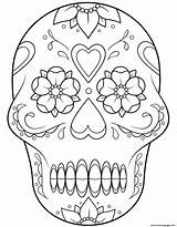 Coloring Skull Calavera Sugar Printable sketch template