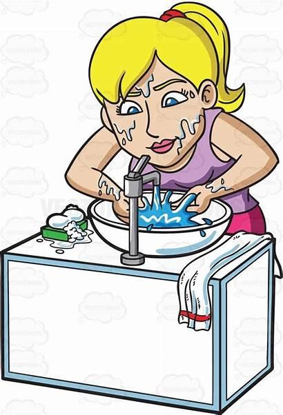 Washing Face Clipart Woman Soap Blonde Bar