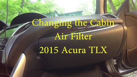 acura tlx change cabin air filter youtube