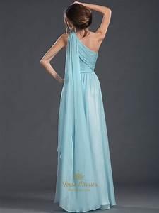 Light Blue A-Line One Shoulder Chiffon Floor-Length Prom ...
