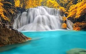 Papéis de Parede Cachoeira, água azul, rio, outono ...