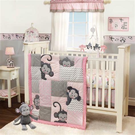 lambs and ivy l girls monkey crib bedding