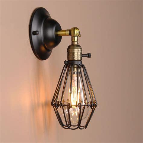 black wall lamp vintage industrial bird cage wall light
