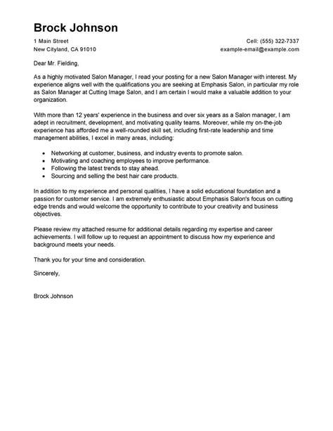 salon manager cover letter exles salon spa fitness