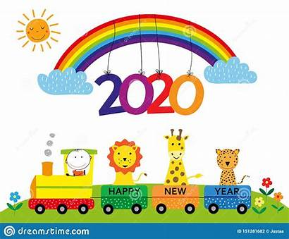 Happy Card Anno Nuovo Train Rainbow Illustartion