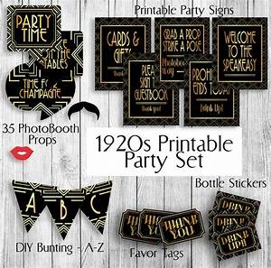 Printable Gatsby Themed 1920s Party Set - Props, Tags x 2