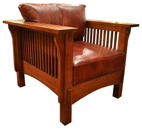 mission crofter style oak and leather arm chair