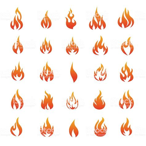 vector fire  flame icons illustration stock vector art