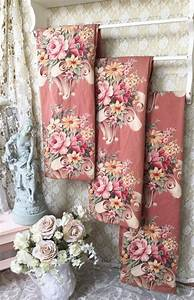vintage 1930s puritan bark cloth curtain panel shabby With english floral curtains