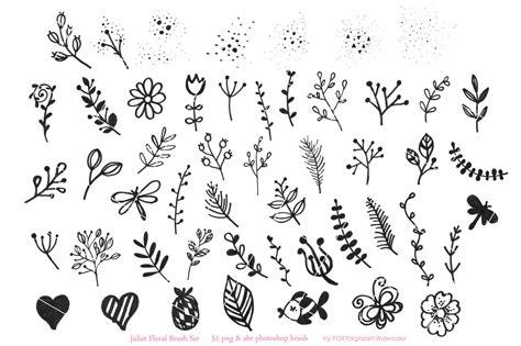 flower doodles floral digital stamps  foxydigitalart