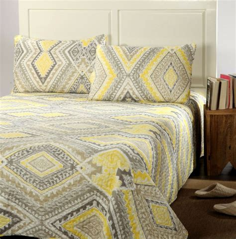 Yellow Quilts And Coverlets by Tache Modern Yellow Gray Grey Summer Reversible