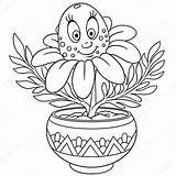Pot Coloring Flower Daisy Colouring Chamomile Illustration Vector Depositphotos sketch template