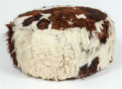 How To A Cowhide by Cowhide Leather Pouf Ottoman At 1stdibs