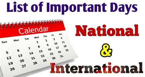 List of important days of the year - All important days in ...