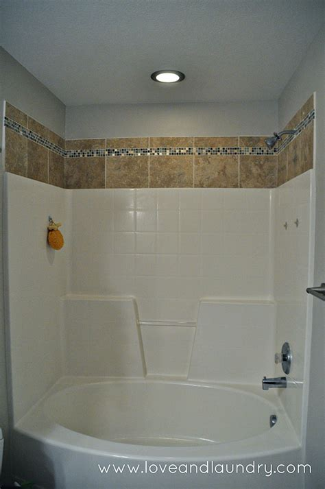 tile above tub surround a and easy shower tub tile update and laundry