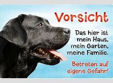 Hundewarnschild schwarzer Labrador Retriever Drei