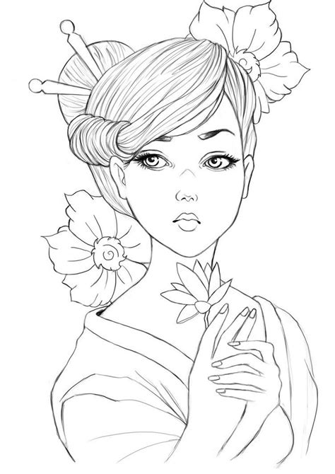 geisha drawing cerca  google tatoos pinterest