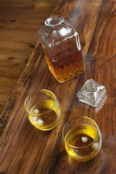 glasses  scotch   rocks  stock image