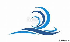 """"""" blue beach wave logo"""" Stock image and royalty-free ..."""