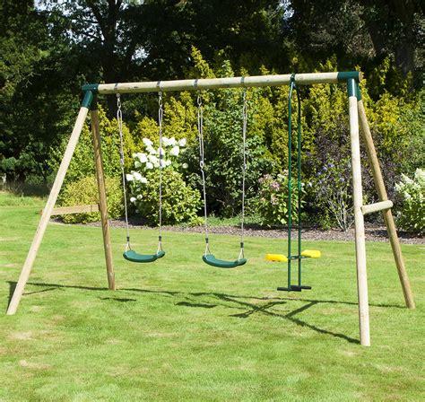 Garden Swing by Rebo Neptune Wooden 3 In 1 Garden Swing Set Swing