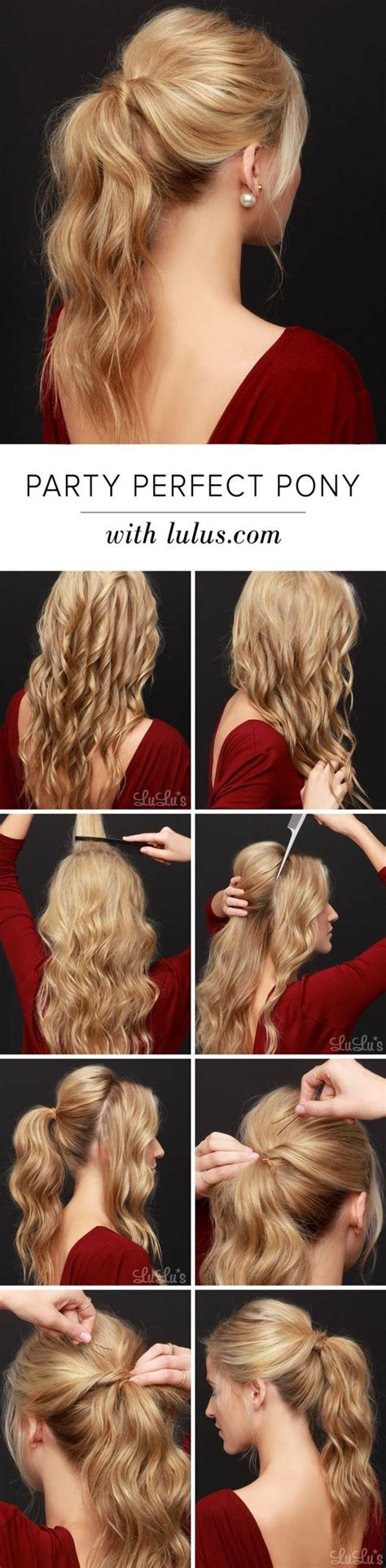 ponytail easy hairstyles hair perfect long tutorial hairstyle blonde step pony party tail tutorials pretty curly backless lulus dress curled