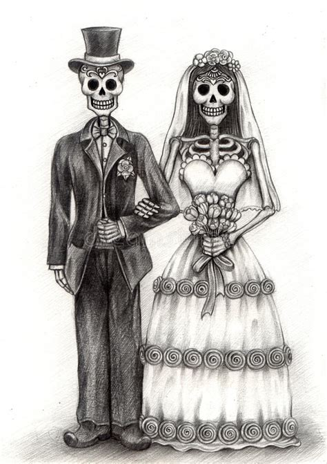 Skull Art Wedding Day The Dead Hand Drawing Paper