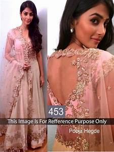 Online Shopping Pooja Hegde Peach Color Lehenga 507422