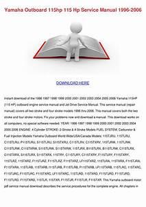 Yamaha Outboard 115hp 115 Hp Service Manual 1 By