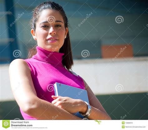 Beautiful College Girl In Campus Stock Photo Image