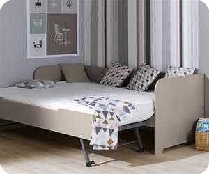 Lit banquette gigogne bali lin 80x200 cm for Amenagement chambre ado avec matelas renault 80x200