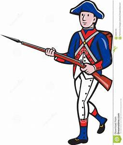 American Revolutionary Soldier Marching Cartoon Stock ...