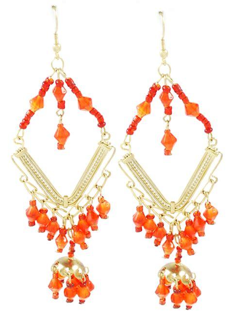 gold diamond beaded belly dance costume earrings red