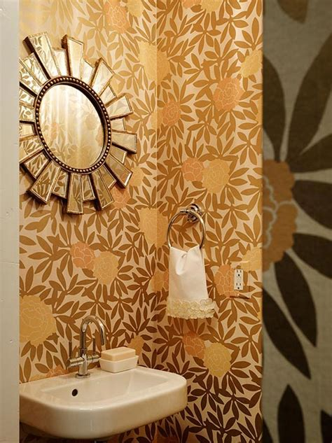 Modern Floral Wallpaper Contemporary Bathroom