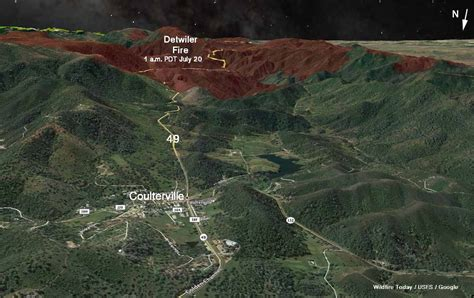 detwiler fire advances  miles   north wildfire today
