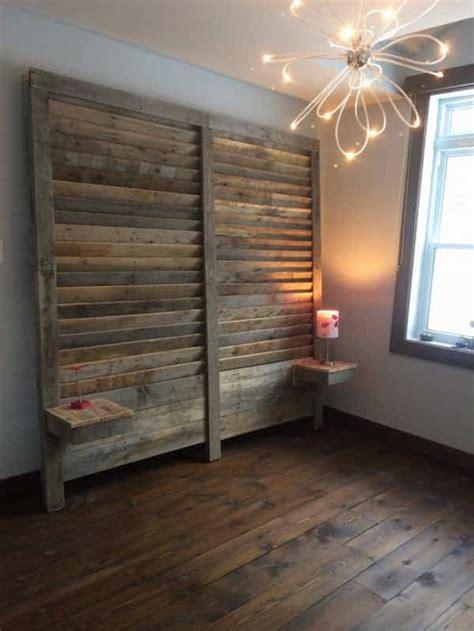 pallet bed headboard  side tables pallet ideas