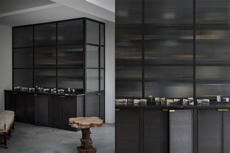 Glass Cupboards For Kitchens by Opaque Reeded Glass Fronted Walk In Metal Kitchen Pantry
