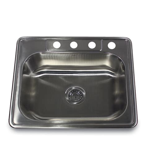 25 stainless steel kitchen sink stainless steel 25 inch self rimming 4 hole single bowl