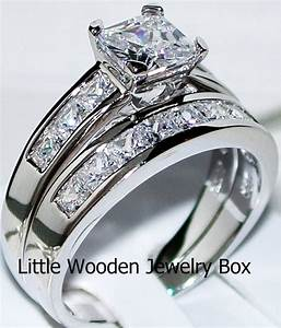 14k white gold sterling silver princess cut diamond for Wedding band under engagement ring