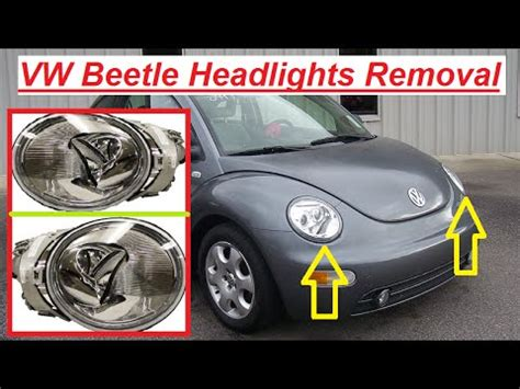 vw beetle headlight removal replacement and light bulb