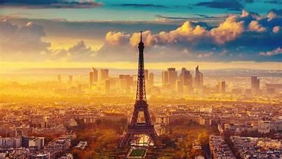 Sunset Paris Eiffel Tower France Autumn Buildings
